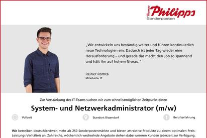 Stellenanzeige System- und Netzwerkadministrator