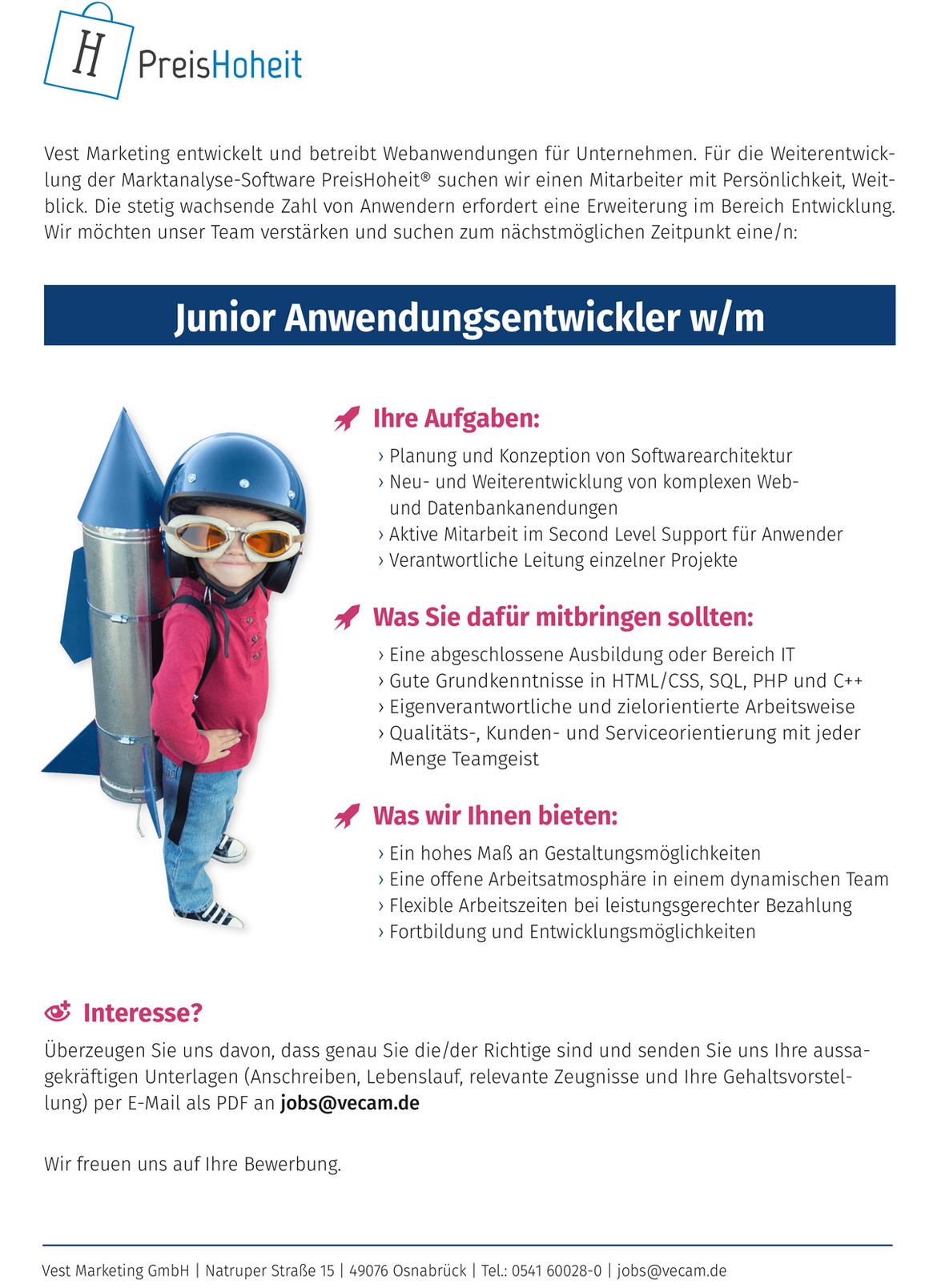 Stellenanzeige Junior Anwendungsentwickler