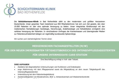 Stellenangebot MFA Intensivpflegeassistent