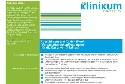 Stellenangebot Veranstaltungskaufleute Klinikum Osnabrück