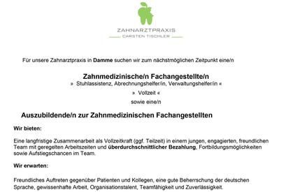 Stellenangebot Tischler ZFA und Azubi ZFA